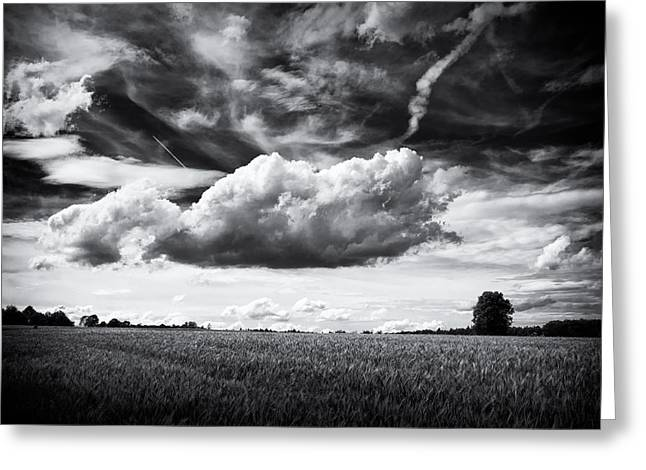 Black And White Landscape With Dramatic Sky And Clouds Greeting Card by Matthias Hauser