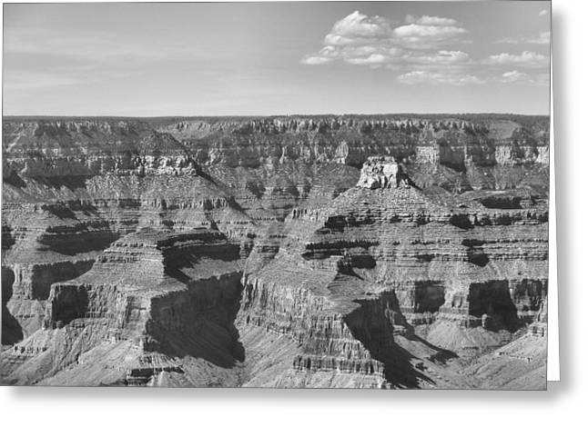 The Grand Canyon Greeting Cards - Black And White Layers Of Grand Canyon Greeting Card by Dan Sproul