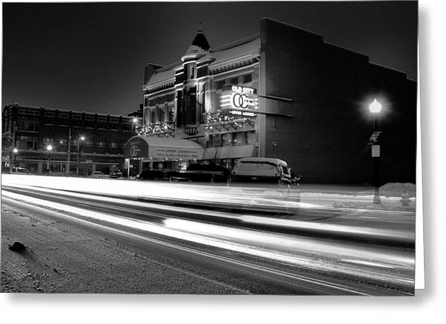 Snowy Night Greeting Cards - Black And White Light Painting Old City Prime Greeting Card by Dan Sproul
