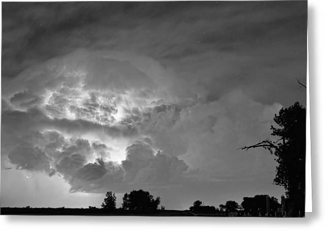 Storm Prints Photographs Greeting Cards - Black and White Light Show Greeting Card by James BO  Insogna