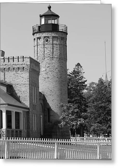 Mackinaw City Greeting Cards - Black And White Lighthouse And Fence Greeting Card by Dan Sproul