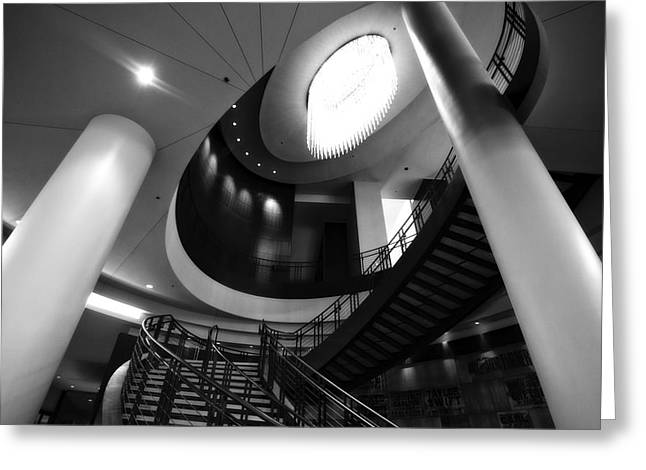 Architecture Of Nashville Greeting Cards - Black And White Lobby Staircase Greeting Card by Dan Sproul