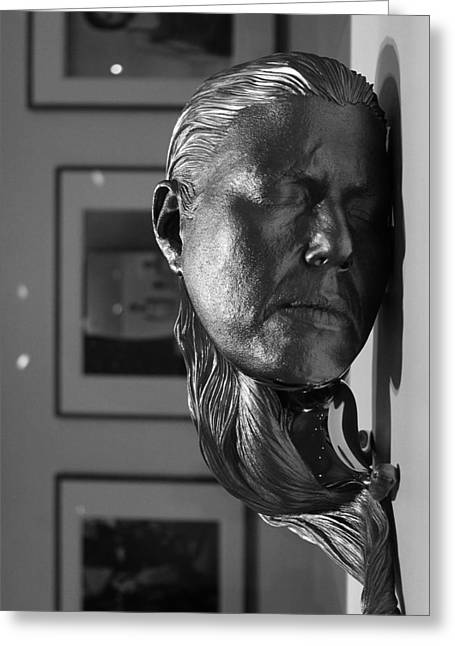 Worcester Art Museum Greeting Cards - Black and White Mask Greeting Card by Michael Saunders