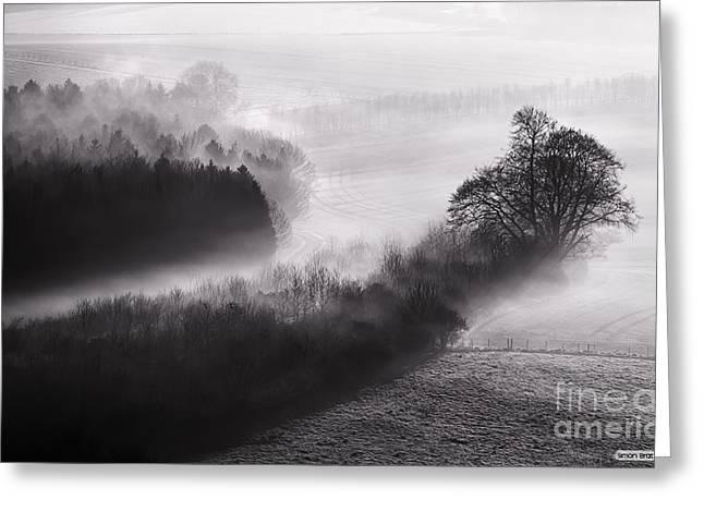 Peaceful Scenery Greeting Cards - Black and white mist landscape Greeting Card by Simon Bratt Photography LRPS