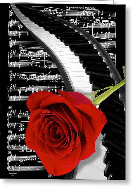 Black And White Music Collage Greeting Card by Phyllis Denton