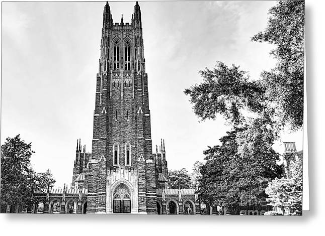 Black And White Of Duke Chapel Greeting Card by Emily Kay
