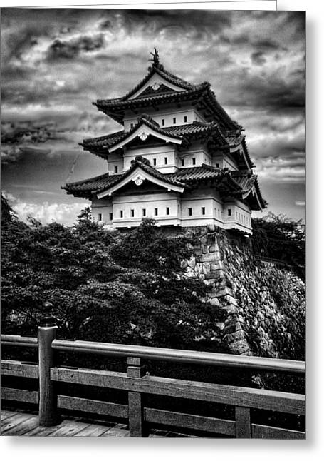 Famous Bridge Greeting Cards - Black and White of Hirosaki Castle in Japan Greeting Card by David Smith