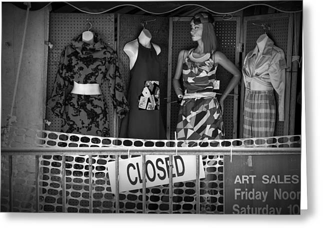 Apparel Greeting Cards - Black and White Outdoor Clothing Display Greeting Card by Randall Nyhof