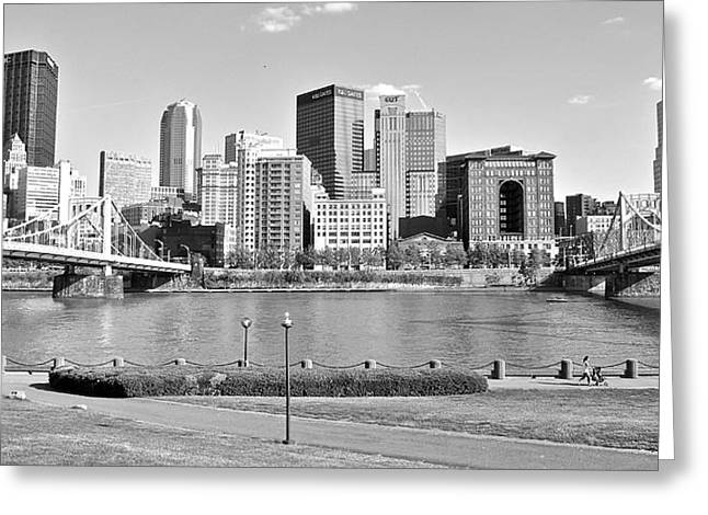 Clemente Greeting Cards - Black and White Over The Allegheny Greeting Card by Frozen in Time Fine Art Photography