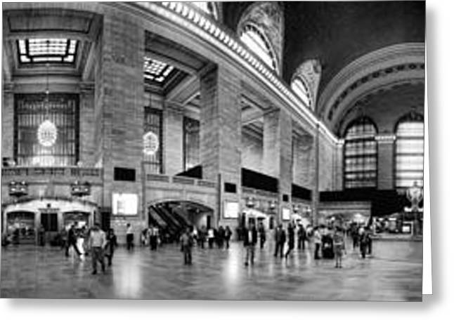 Traffic Greeting Cards - Black and White Pano of Grand Central Station - NYC Greeting Card by David Smith