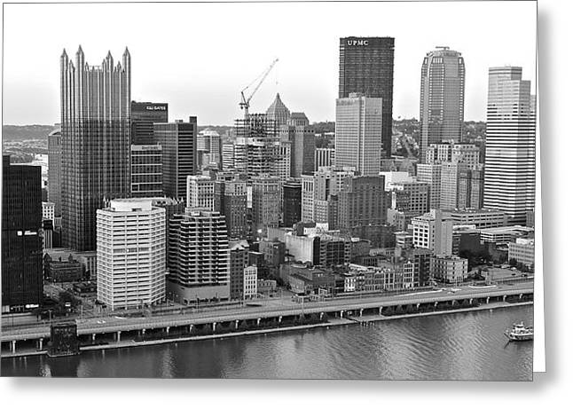 Urban Images Greeting Cards - Black and White Panoramic of Pittsburgh PA Greeting Card by Frozen in Time Fine Art Photography