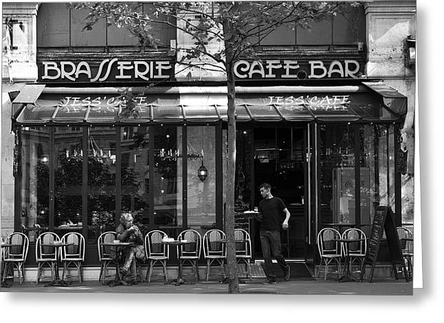Coffee Drinking Greeting Cards - Black and White Paris Cafe Bar Greeting Card by Nomad Art And  Design