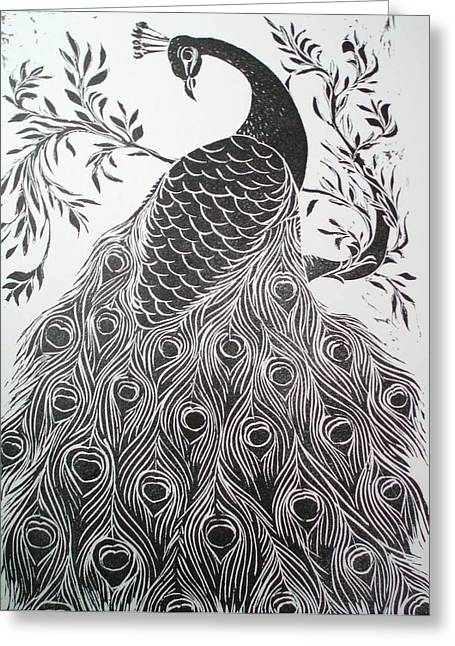 Pet Reliefs Greeting Cards - Black and White Peacock Greeting Card by Barbara Anna Cichocka