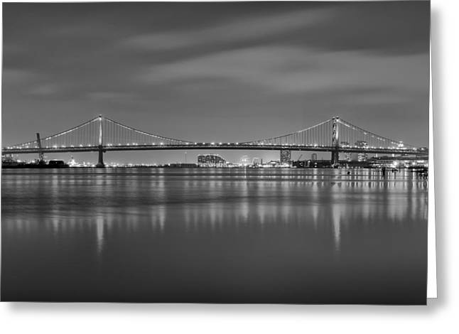 Treaty Greeting Cards - Black and White Philadelphia - Benjamin Franklin Bridge Greeting Card by Bill Cannon