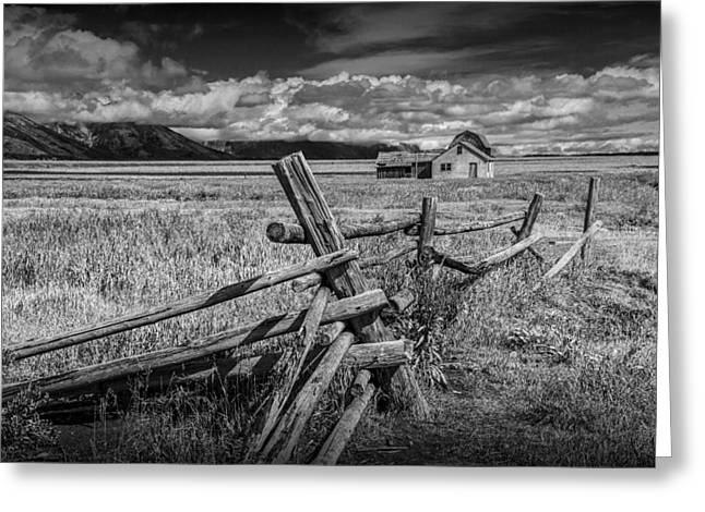 Brown Tones Greeting Cards - Black and White Photo of a Wood Fence at the John Moulton Farm Greeting Card by Randall Nyhof