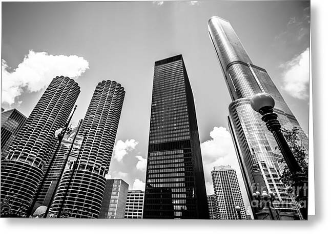 Trump Hotel Greeting Cards - Black and White Photo of Chicago Skyscrapers Greeting Card by Paul Velgos