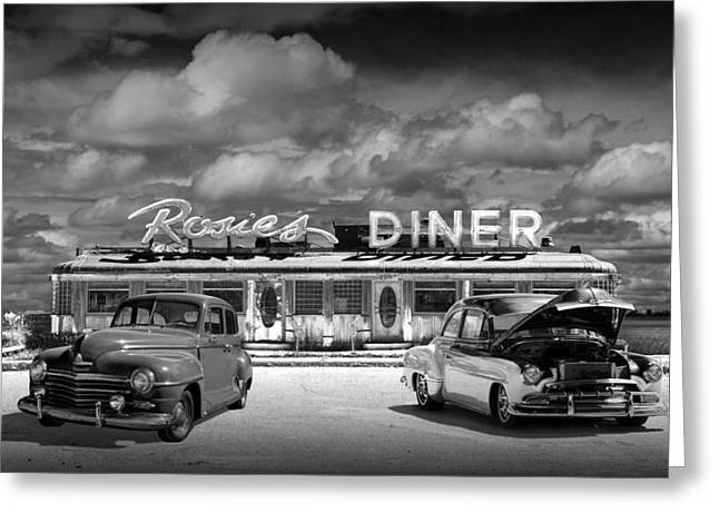 Rockford Greeting Cards - Black and White Photo of Historic Rosies Diner with Vintage Automobiles Greeting Card by Randall Nyhof
