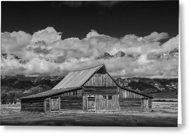 Brown Tones Greeting Cards - Black and White Photo of the T.A. Moulton Barn in the Grand Tetons Greeting Card by Randall Nyhof