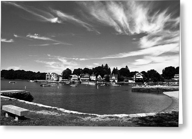Black And White Photo Park Bench Stony Creek Harbor Connecticut Greeting Card by Robert Ford