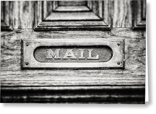 Entryway Greeting Cards - Black and White Photograph of Vintage Mail Slot Greeting Card by Lisa Russo