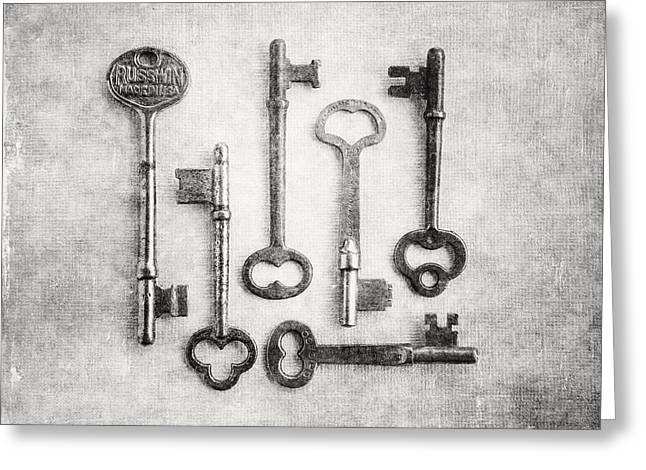 Foyer Greeting Cards - Black and White Photograph of Vintage Skeleton Keys for Rustic Home Decor Greeting Card by Lisa Russo