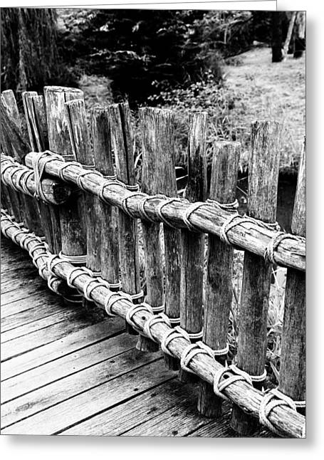 Hardcover Greeting Cards - Black and white photography of a wooden bridge 2 Greeting Card by Falko Follert