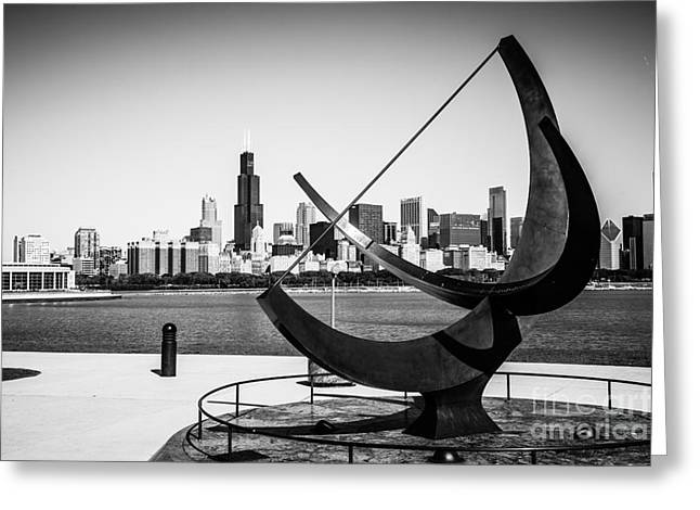 Editorial Greeting Cards - Black and White Picture of Adler Planetarium Sundial Greeting Card by Paul Velgos