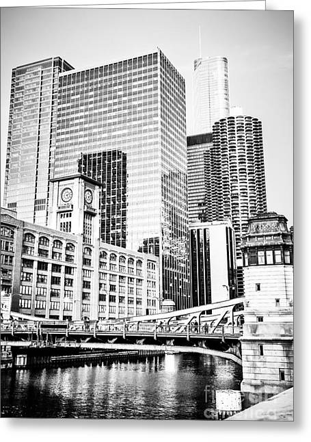 Reid Murdoch Building Greeting Cards - Black and White Picture of Chicago at LaSalle Bridge Greeting Card by Paul Velgos