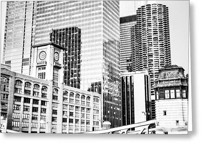 Black and White Picture of Chicago at LaSalle Bridge Greeting Card by Paul Velgos