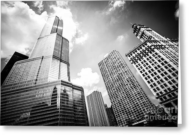 Trump Hotel Greeting Cards - Black and White Picture of Chicago New and Old Buildings Greeting Card by Paul Velgos
