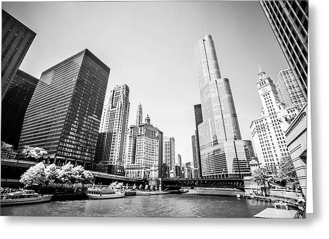 Riverfront Greeting Cards - Black and White Picture of Downtown Chicago Greeting Card by Paul Velgos