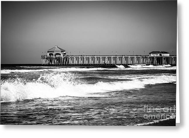 Historic City Pier Greeting Cards - Black and White Picture of Huntington Beach Pier Greeting Card by Paul Velgos