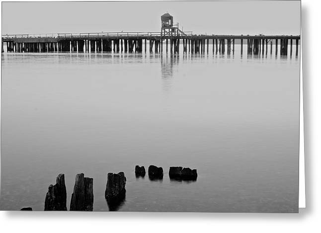 Beach At Night Greeting Cards - Black and White Pier Greeting Card by Rachel Cash