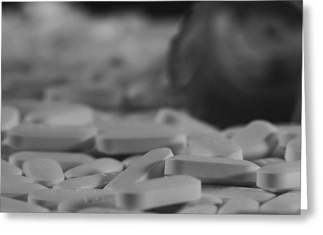 Aspirin Greeting Cards - Black And White Pills Greeting Card by Dan Sproul