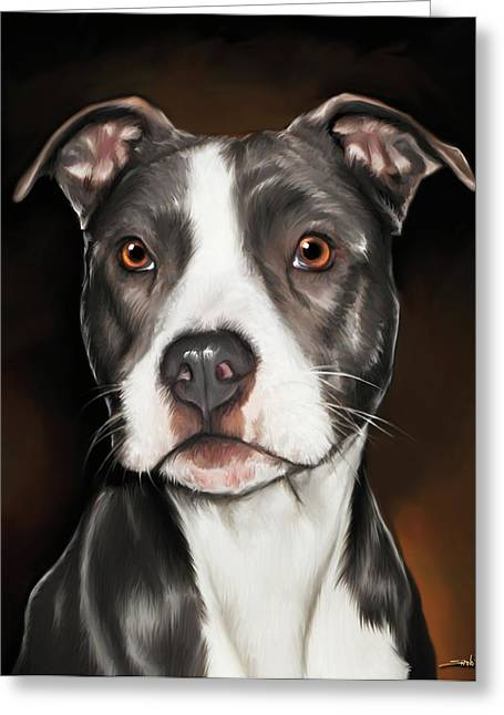 Pit Bull Digital Art Greeting Cards - Black and White Pit Bull Terrier Greeting Card by Michael Spano