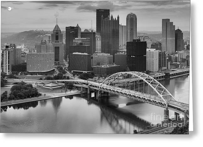 City Of Champions Greeting Cards - Black And White Pittsburgh Sunrise Greeting Card by Adam Jewell