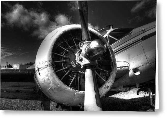 Thomas Young Photography Greeting Cards - Black and White Plane Engine Greeting Card by Thomas Young