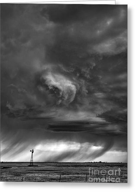 Wheat Field Sky Pictures Greeting Cards - Black and white rain Greeting Card by Jeremy Holmes