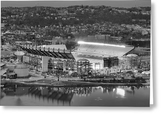 Downtown Pittsburgh Greeting Cards - Black And White Reflections On The North Shore Greeting Card by Adam Jewell