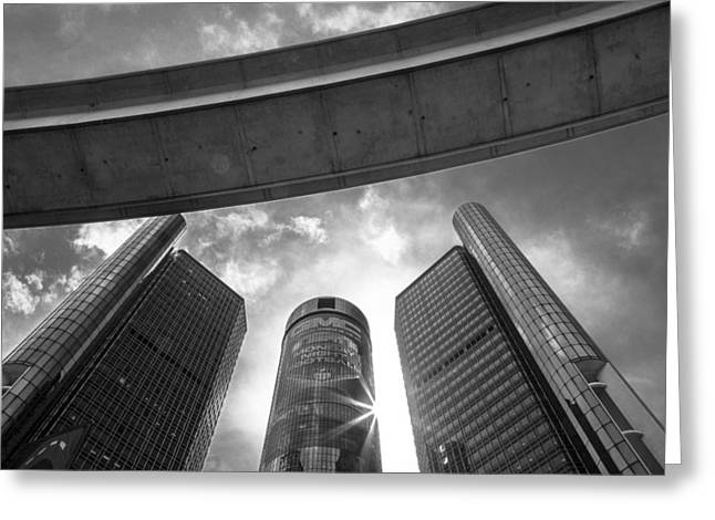 Renaissance Center Greeting Cards - Black and White Renaissance Center and People Mover Greeting Card by John McGraw