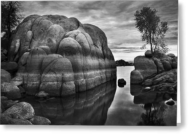 Black And White Rocks At Watson Lake Near Prescott Arizona Greeting Card by Dave Dilli