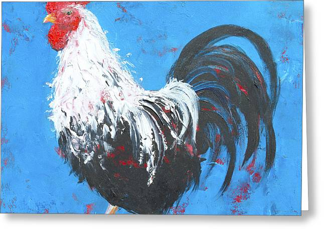 Black And White Rooster On Blue  Greeting Card by Jan Matson