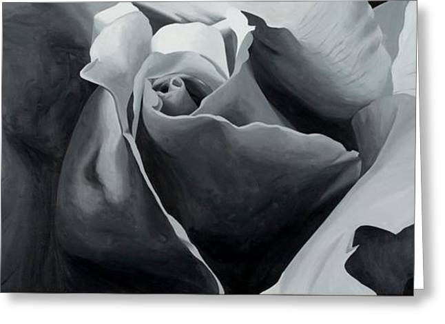 Photorealistic Paintings Greeting Cards - Black and White Rose Greeting Card by Sharon Von Ibsch