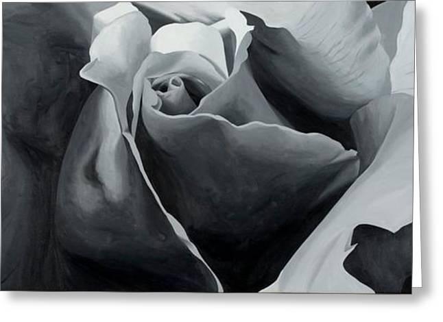 Black and White Rose Greeting Card by Sharon Von Ibsch