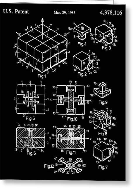 Solving Greeting Cards - Black And White Rubiks Cube Patent Greeting Card by Dan Sproul