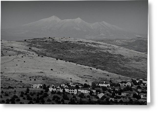 Prescott Greeting Cards - Black and White San Francisco Peaks Over Glassford Hill Greeting Card by Aaron Burrows