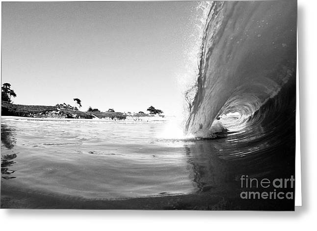 Santa Cruz Surfing Greeting Cards - Black and White Santa Cruz Wave Greeting Card by Paul Topp