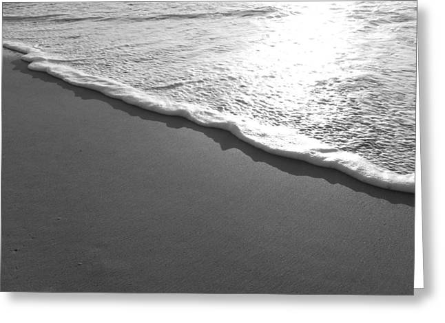 Saltlife Greeting Cards - Black and white sea foam Greeting Card by Karen Rhodes
