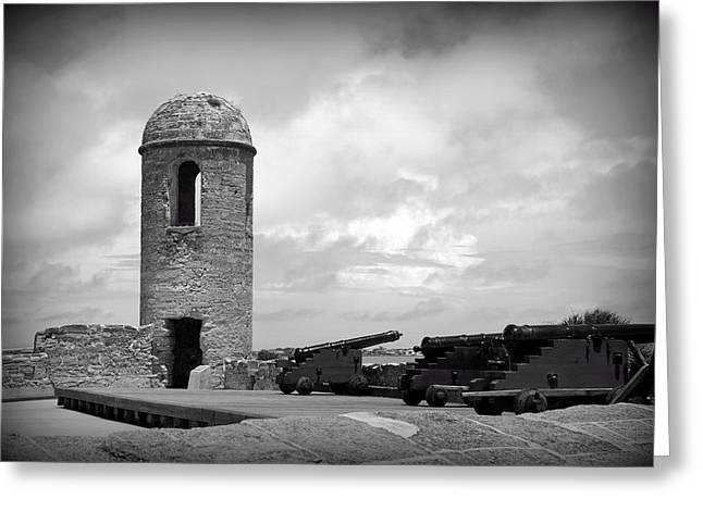 Historic Site Greeting Cards - Black and White Sentinel Greeting Card by Laurie Perry