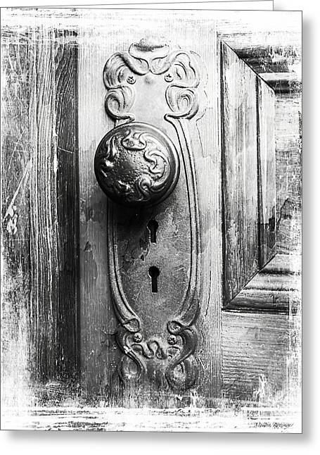 Black Greeting Cards - Black and White Distressed Door Knob Greeting Card by Melissa Bittinger